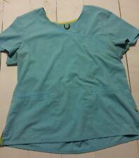 URBANE SPORT SCRUB TOP Size XL Womens Teal Blue Runs Small in Size