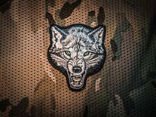 Wolf head embroidery hook and loop patch