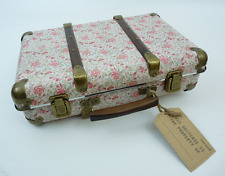 Vintage Style Suitcase w/ Ditsy Pink Rose Floral Print Pattern Cosmetic Storage
