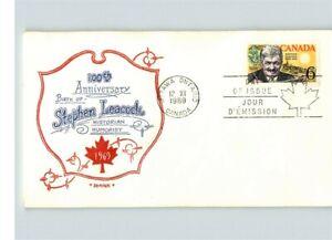 CANADA, 1969, STEPHEN LEACOCK, Historian, Humorist, Artopages cachet, First Day