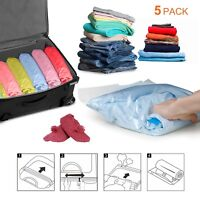 Travel Compression Space Saver Storage Bags Hand Rolling Roll Up No Vacuum 5pcs