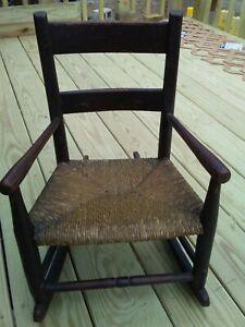 Antique 19th.c Slat Back Child's Rocking Chair Original Rush Seat and Finish