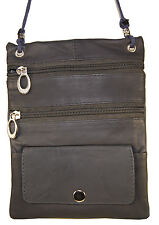 Leather Thin Document Passport Holder String Neck Pouch Travel Case Grey