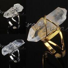1x Natural Clear Rock Quartz Crystal Random Adjustable Stone Finger Ring Jewelry