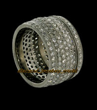 Cut Diamond Silver Eternity Ring Jewelry Antique Finish 4.05ct Genuine Pave Rose
