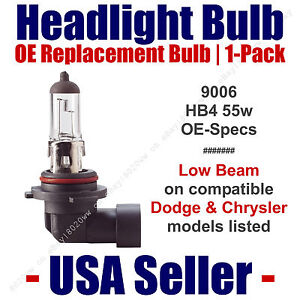 Headlight Bulb Low Beam OE Replacement Fits Listed Dodge & Chrysler Models  9006
