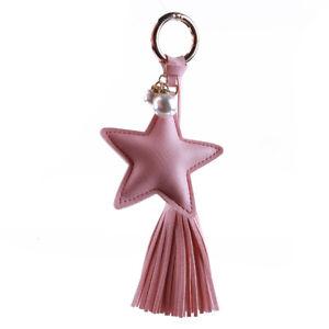 PU Leather Tassel Key Ring Cute Bag Pendant Five-pointed Star Car Keychains BM