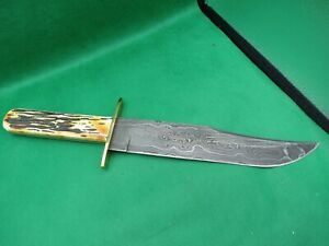 Bear & Son 502D American Bowie Damascus India Stag FixedKnife BEAUTIFUL USA MADE