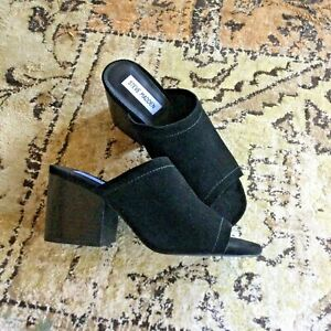 Steve Madden Label Black Suede Low Heel Mule Style New Shoes Size 7