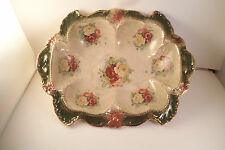 Vintage Scalloped Decorative Bowl Pink Yellow Roses