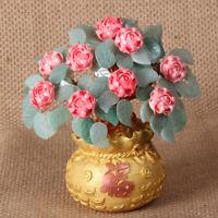 Feng Shui Stone Jade Money Tree Bonsai Luck Wealth Decoration Flower Tree Pot