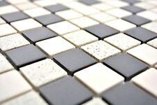 Mosaïque carreau céramique beige noir non vitré cuisine 18-0113-R10_b | 1 plaque