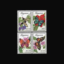 Guyana, Sc #2211-14, MNH, 1989, Butterflies, flowers, flora, AS8Z-9