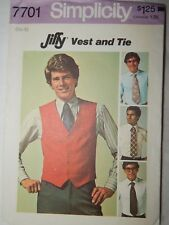 Simplicity 7701 Dress Vest Tie Size 40 1976 Retro Mens Sewing Pattern Cut VTG