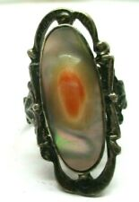 VINTAGE STERLING SILVER BLISTER PEARL & ABALONE RING SIZE 6
