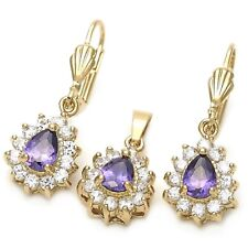 9ct Gold Filled Amethyst clear CZ  Teadrop Earrings Pendant Chain Set B50