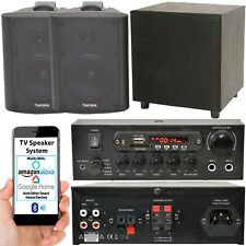 TV Premium Sonido Sistema – Negro Pared Altavoces 200W Graves & Bluetooth Amp