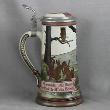 RARE AND SPLENDID 1/4 LITER STEIN MARZI AND REMY GERMANY METTLACH STYLE 1900