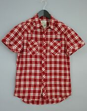 Men Diesel Casual Shirt Red Check Short Sleeves Cotton M VBA69
