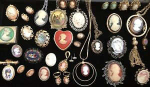 Vintage Faux & Shell Cameo Jewelry Lot Necklaces Earrings Brooches Italy Florenz