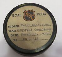 1972-73 Peter Mahovlich Montreal Canadiens Game Used Goal Scored Puck -Robinson