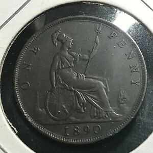 1890 GREAT BRITAIN  ONE PENNY BETTER GRADE COIN