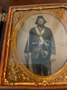 Civil War 1/6 Plate Tintype of a Union Private Loaded with Equipment Patriotic C