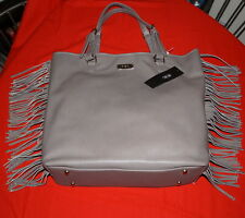 BCBG Paris Fringe Handbag Large Tote Taupe Color Leather Liked $39.-NWT Free/Sh