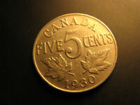 Canada 1930 5 Cent Coin.
