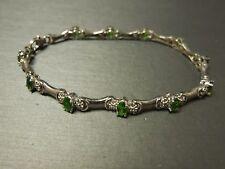 Vintage Art Deco Style Sterling Silver 5.25TCW Green Garnet / Tsavorite Bracelet