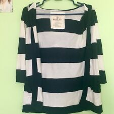 Hollister Women XS/S Navy and White Striped Cardigan