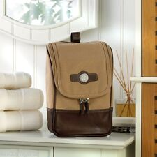 Personalized Mens Canvas & Leather Toiletry Travel Kit Cosmetic Shaving Case Bag