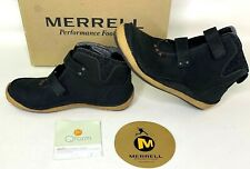 Merrell Womens Ankle Shoes Prague Black Leather Chukka Boots Sticky Closure 7.5