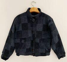 Vintage Lands End Wool Women Cafe Racer Jacket Sz Xl Blue Black Button Up