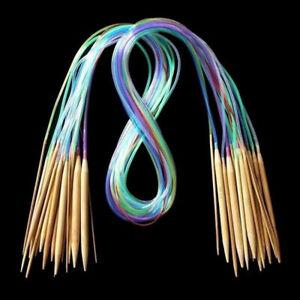 18pcs/Set Tube Circular Carbonized Bamboo Knitting Needles 40cm-120cm Tool
