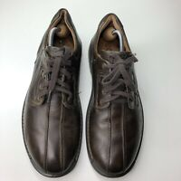 Ecco Light Shock Point Men's Casual Leather Brown Lace Up Oxford Shoes Size 44