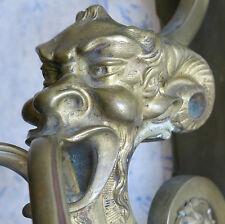 DIABLE, magnifique paire d'appliques en bronze à tête de diable, SATYRE, BRONZE