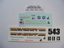 Riverside CA Sheriff 1/43 Water Slide Decal Set for custom built Die Cast Cars