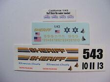 Riverside CA Sheriff 1/43 Water Slide Decal Set for custom built Die Cast Cars