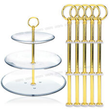 5 Set Golden Round Cake Plate Stand Handle Fitting Center Rod Wedding Party
