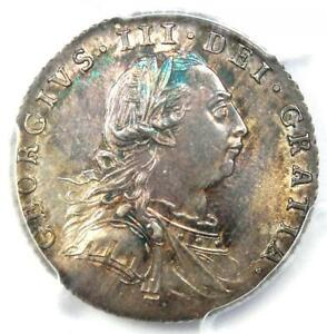 1787 Britain George III Sixpence Hearts Coin 6D - Certified PCGS MS63 (BU UNC)