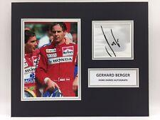 RARE Gerhard Berger Ferrari F1 Signed Photo Display + COA AUTOGRAPH