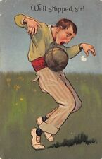 SPORTS c1908 Embossed Postcard Well Stopped Sir! Man w/ Medicine Ball by PBF