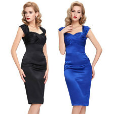 Elegant Vintage 50s 60s Prom Mini Cocktail Dress Bodycon Satin Retro Mini Dresse