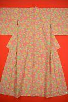 Vintage Japanese Wool Antique BORO KIMONO Kusakizome Dyde Textile/YH75/745