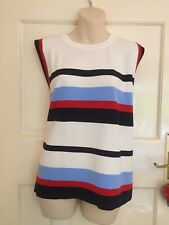 MARK AND SPENCER Striped Round Neck Sleeveless Jumper SIZE 22 BNWT BEAUTIFUL