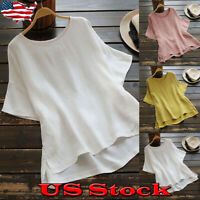Plus Size Womens Solid Tunic Tops Casual Baggy Short Sleeve T-Shirt Tee Blouse