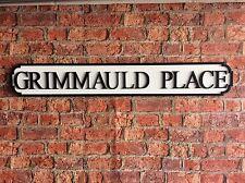 Vintage Wood Street Road Sign GRIMMAULD PLACE
