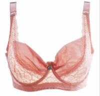 Pink & Black Large Bosom Lace Underwired Bra Plus Size Full Cup Ladies