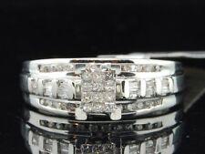 Ladies 10K White Gold Princess & Round Cut Diamond Engagement Ring Wedding Band